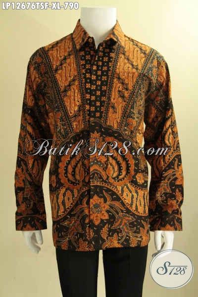 Kemeja Batik Istimewa Khas Eksekutif Model Lengan Panjang Jenis Tulis Soga, Baju Batik Premium Buatan Solo Motif Elegan, Pilihan Terbaik Untuk Penampilan Nan Sempurna [LP12676TSF-XL]