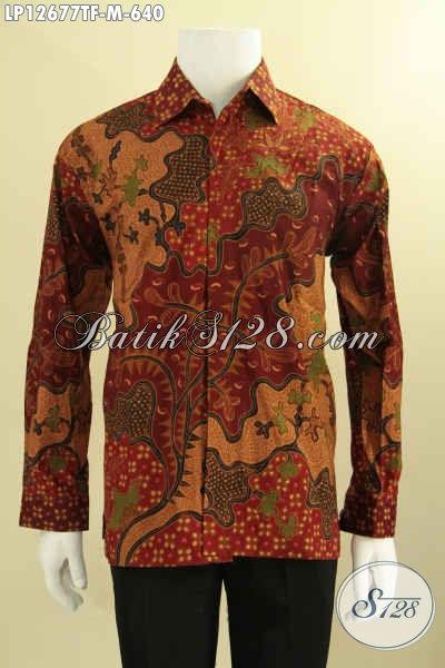 Batik Kemeja Pria Mewah Model Lengan Panjang Daleman Full Furing, Busana Batik Solo Asli Jenis Tulis Motif Bagus Hanya 600 Ribuan Saja [LP12677TF-M]