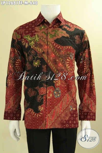 Produk Busana Batik Premium Untuk Pria Model Lengan Panjang Jenis Tulis Motif Elegan, Kemeja Batik Solo Istimewa Cocok Untuk Kondangan Dan Acara Formal [LP12681TF-M]