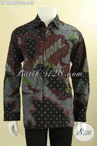 Produk Baju Batik Pria Lengan Panjang Istimewa Untuk Kerja Dan Acara Resmi, Kemeja Batik Tulis Solo Terbaru Motif Elegan Daleman Full Furing Hanya 640K [LP12685TF-L]