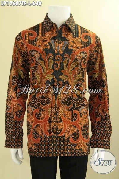 Kemeja Batik Solo Tulis Asli Model Lengan Panjang Full Furing, Pakaian Batik Mewah Bahan Halus, Pilihan Terbaik Tampil Gagah Dan Menawan [LP12687TF-L]