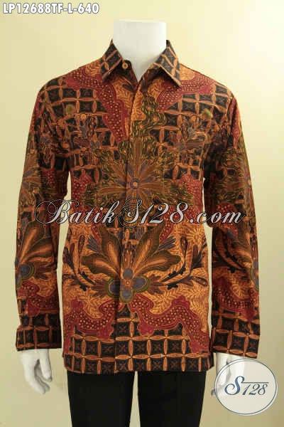 Kemeja Batik Exclusive Model Lengan Panjang Full Furing, Baju Batik Pria Jenis Tulis Buatan Solo Bahan Halus Dan Nyaman Di Pakai [LP12688TF-L]