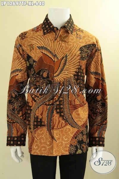 Baju Batik Kerja Tulis Asli Model Lengan Panjang, Baju Batik Premium Pria Kantoran Daleman Pakai Furing, Menunjang Penampilan Gagah Menawan [LP12697TF-XL]
