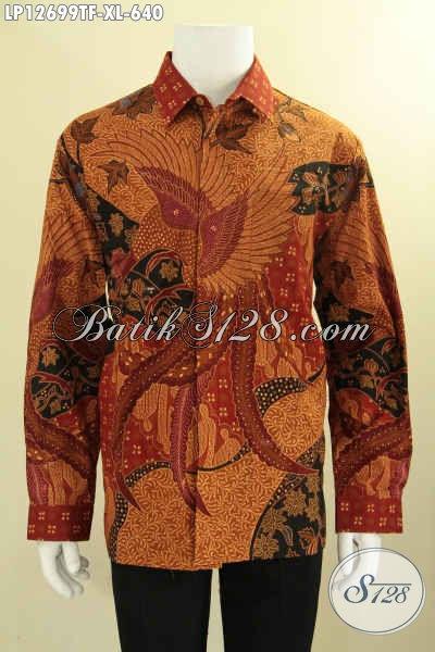 Koleksi Terkini Baju Batik Pria Lengan Panjang Nan Mewah, Pakaian Batik Premium Pakai Furing Motif Bagus Jenis Tulis Hanya 600 Ribuan Saja [LP12699TF-XL]