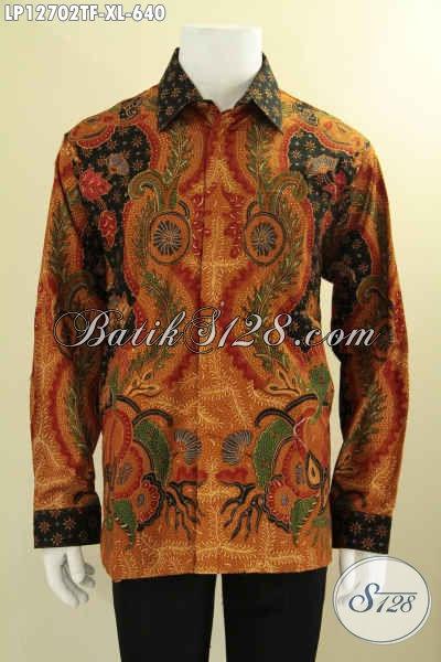 Produk Baju Batik Cowok Kwalitas Premium Tren Masa Kini, Kemeja Batik Tulis Solo Lengan Panjang Pakai Furing, Cocok Untuk Para Pejabat Dan Eksekutif [LP12702TF-XL]