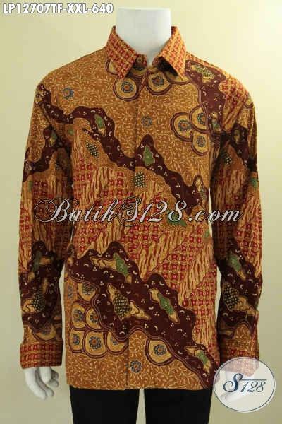 Kemeja Batik Tulis Mewah Lengan Panjang Jumbo, Busana Batik Premium Full Furing Untuk Pria Gemuk, Cocok Buat Kondangan Dan Acara Formal [LP12707TF-XXL]