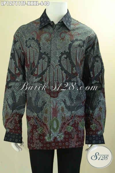 Kemeja Batik Solo Elegan Model Lengan Panjang, Baju Batik Premium Khas Jawa Tengah Motif Mewah Proses Tulis Tampil Exclusive Dengan Daleman Full Furing [LP12711TF-XXXL]