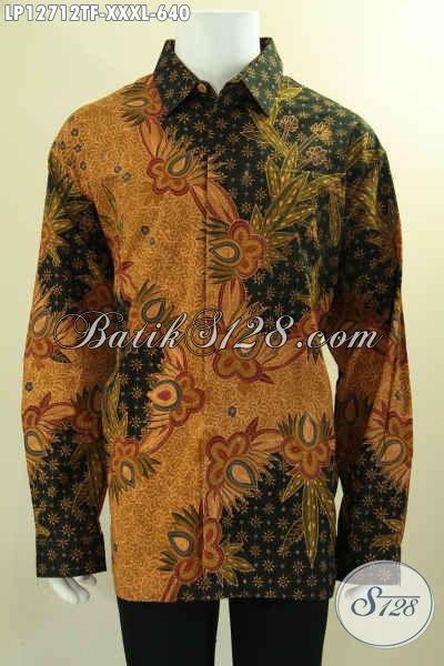Baju Batik Mewah Jawa Tengah Lengan Panjang Exclusive Untuk Pria Gemuk, Kemeja Batik Tulis Asli Motif Bagus Daleman Full Furing, Pas Banget Untuk Acara Resmi [LP12712TF-XXXL]