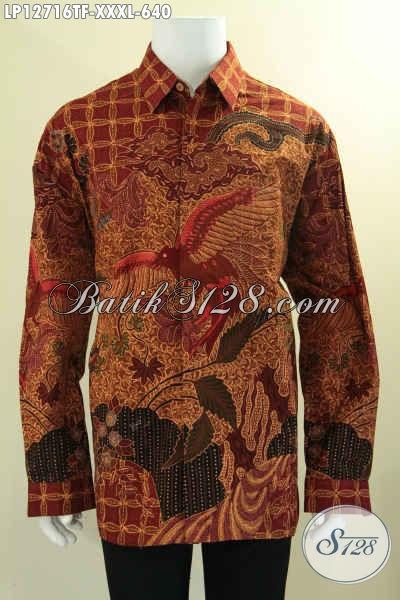 Busana Batik Premium Lengan Panjang Mewah Tulis Asli, Kemeja Batik Solo Daleman Full Furing, Spesial Untuk Lelaki Gemuk Tampil Berkelas [LP12716TF-XXXL]