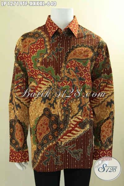 Busana Batik Premium Solo Istimewa Lengan Panjang Full Furing, Pakaian Batik Jawa Tengah Halus  Motif Elegan Proses Tulis, Pilihan Terbaik Untuk Penampilan Nan Sempurna [LP12719TF-XXXXL]