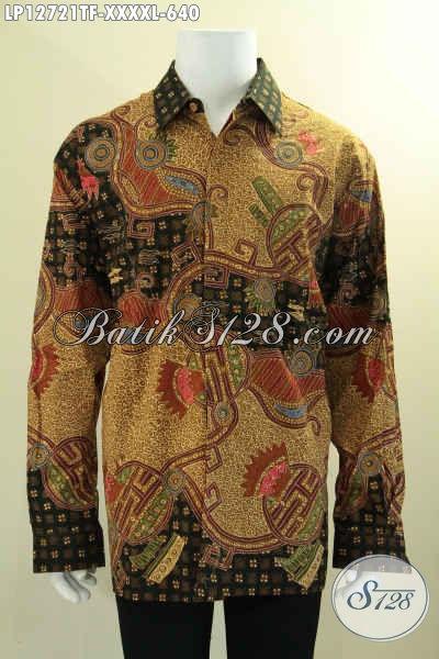Busana Batik Mewah Khas Solo Model Lengan Panjang Premium Motif Elegan Bahan Halus Nyaman Di Pakai, Kemeja Batik Premium Full Furing Hanya 600 Ribuan Saja [LP12721TF-XXXXL]