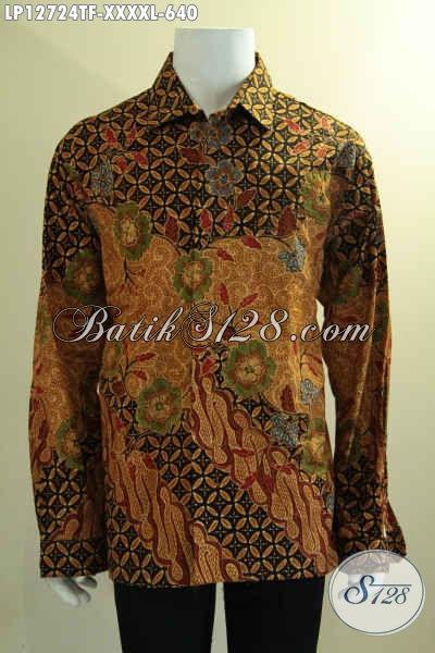 Kemeja Batik Resmi Kwalitas Halus Motif Elegan Jenis Tulis, Pakaian Batik Premium Model Lengan Panjang Full Furing Yang Menunjang Penampilan Lebih Istimewa [LP12724TF-XXXXL]