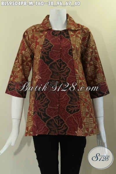 Blouse Batik Wanita Kombinasi 2 Motif Model Krah Lengan 7/8 Dan Di Lengkapi Kancing Depan, Bikin Penampilan Cantik Dan Kekinian [BLS9504PB-M]