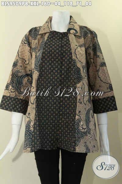 Koleksi Terkini Busana Batik Wanita Cocok Buat Kerja Dan Ke Kondangan, Bahan Halus 2 Motif Model Krah Lengan 7/8 Pakai Kancing Depan [BLS9509PB-XXL]