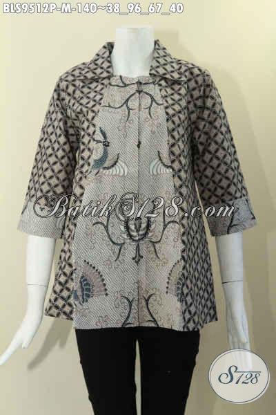 Toko Online Busana Batik Wanita Terlengkap, Jual Blouse Batik Masa Kini Model Krah Lengan 7/8, Bahan Adem Di Lengkapi Kancing Depan Penampilan Lebih Menawan [BLS9512P-M]
