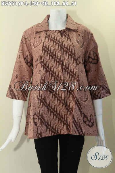Atasan Batik Wanita Model Krah Lengan 7/8, Pakaian Batik Modis Kombinasi 2 Motif Elegan Dan Di Lengkapi Kancing Depan, Pilihan Terbaik Untuk Tampil Cantik Menawan [BLS9515P-L]