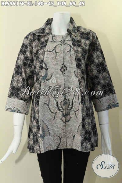 Baju Atasan Batik Wanita Model Terbaru 2 Motif Desain Krah Lengan 7/8 Kancing Depan, Bahan Halus Adem Dan Nyaman  Di Pakai Harian [BLS9517P-XL]