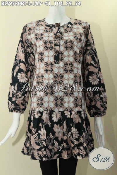 Koleksi Pakaian Batik Wanita Terkini, Hadir Dengan Krah Paspol Di Lengkapi Kancing Depan Dan Kombinasi 2 Motif, Baju Batik Lengan Panjang Berkaret Cocok Juga Untuk Yang Berjilbab [BLS9530BT-L]