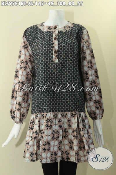 Baju Batik Wanita Dewasa Model Krah Paspol Kombinasi 2 Motif, Blouse Batik Solo Tren Masa Kini Pakai Kancing Depan Lengan Panjang Berkaret, Tampil Trendy Dan Cantik [BLS9531BT-XL]