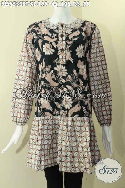 Produk Terbaru Blouse Batik Wanita Model Krah Paspol Lengan Panjang Berkaret, Bahan Halus Kombinasi 2 Motif Di Lengkapi Kancing Depan, Pas Banget Untuk Seragam Kerja [BLS9533BT-XL]