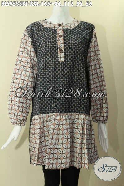 Jual Batik Blouse Lengan Panjang Berkaret, Pakaian Batik Wanita Gemuk Model Masa Kini Berbahan Halus 2 Motif Di Lengkapi Kancing Depan Dan Pakai Kerah Paspol [BLS9535BT-XXL]