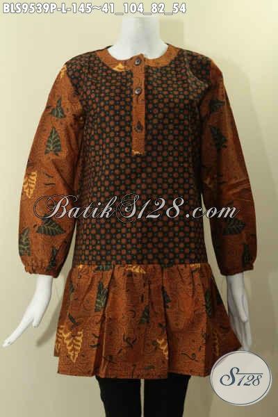 Blouse Batik Printing 2 Motif Elegan Klasik, Baju Batik Modern Dengan Nuansa Etnik Model Krah Paspol Pakai Kancing Depan Dan Lengan Panjan Berkaret [BLS9539P-L]