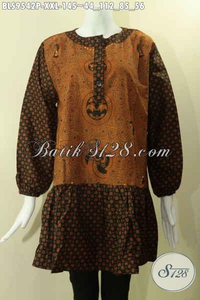 Baju Atasan Batik Krah Paspol 2 Motif Kwalitas Istimewa, Blouse Batik Wanita Gemuk Kancing Depan Lengan Panjang Berkaret, Pas Untuk Kerja Dan Kondangan [BLS9542P-XXL]