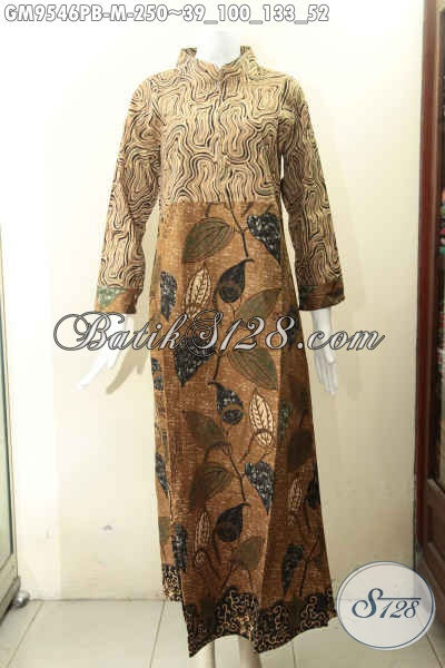 Gamis Batik 2 Motif Desain Mewah Pakai Resleting Depan Kwalitas Istimewa, Busana Batik Syar'i Wanita Masa Kini Untuk Tampil Berkelas, Lengan Panjang Pakai Manset Kancing [GM9546PB-M]