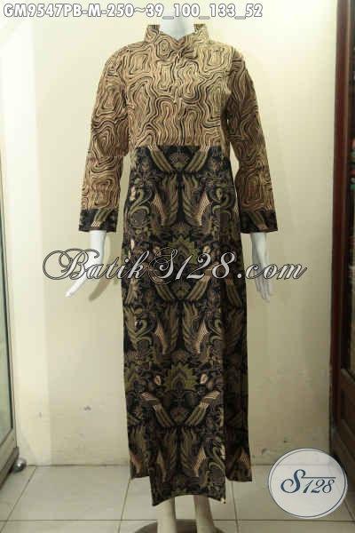 Jual Online Gamis Batik Solo Resleting Depan 2 Motif Kwalitas Istimewa, Pakaian Batik Kekinian Wanita Berjilbab Lengan Panjang Pakai Manset Kancing Hanya 200 Ribuan Saja [GM9547PB-M]