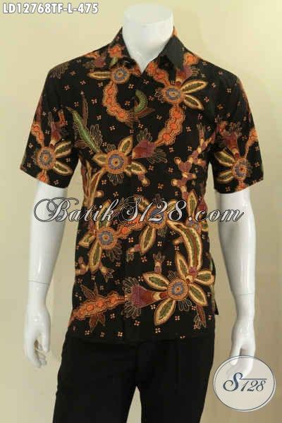 Jual Online Busana Batik Modis Tren Masa Kini, Pakaian Batik Istimewa Model Lengan Pendek Full Furing Motif Baru Proses Tulis, Pas Banget Buat Ngantor Tampil Berkelas [LD12768TF-L]