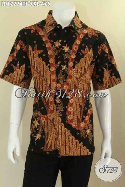 Kemeja Batik Jumbo Lengan Pendek Istimewa Jenis Tulis Kwalitas Premium, Busana Batik Mewah Full Furing Spesial Untuk Lelaki Gemuk Hanya 400 Ribuan Saja [LD12774TF-XXL]
