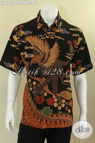 Baju Batik Lengan Pendek Mewah Full Furing, Kemeja Batik Tulis Motif Terbaru Spesial Untuk Pria Gemuk, Cocok Buat Kerja Dan Ke Kondangan [LD12776TF-XXL]
