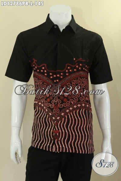 Model Baju Batik Pria Lengan Pendek Kwalitas Istimewa, Busana Batik Solo Terkini Bahan Halus Motif Unik Cocok Untuk Santai Maupun Resmi [LD12786PB-L]