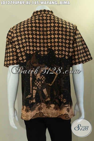 Kemeja Batik Wayang Lengan Pendek Khas Solo, Busana Batik Motif Bima Bahan Halus Jenis Printing, Cocok Untuk Santai Dan Seragam Kerja [LD12794PB-XL]