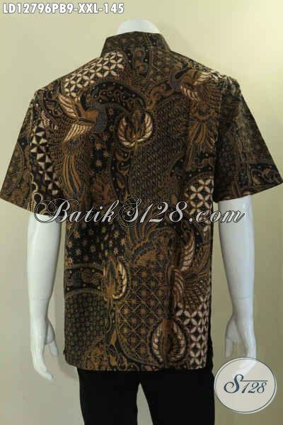 Busana Batik Solo Keren Motif Unik Dengan Warna Elegan Dengan Sentuhan Etnik, Kemeja Batik Pria Gemuk Untuk Kerja Model Lengan Pendek Tampil Gagah Dan Modis [LD12796PB-XXL]
