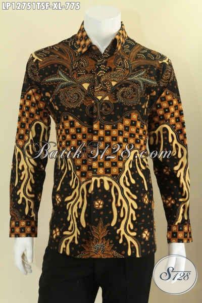 Jual Online Busana Batik Lengan Panjang Mewah Pakai Furing, Baju Batik Premium Jenis Tulis Asli Solo Untuk Acara Resmi Dan Ke Pernikahan Tampil Berkelas [LP12751TSF-XL]