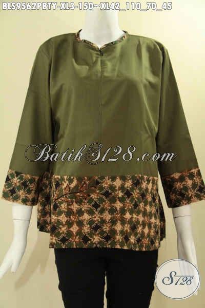 Produk Baju Batik Wanita Terbaru Kwalitas Istimewa Dengan Harga Biasa, Hadir Dengan Desain Kombinasi Kain Polos Katun Toyobo Tanpa Krah Lengan 7/8 Pakai Resleting Depan, Cocok Buat Ngantor Maupun Acara Resmi [BLS9562PBTY-XL]