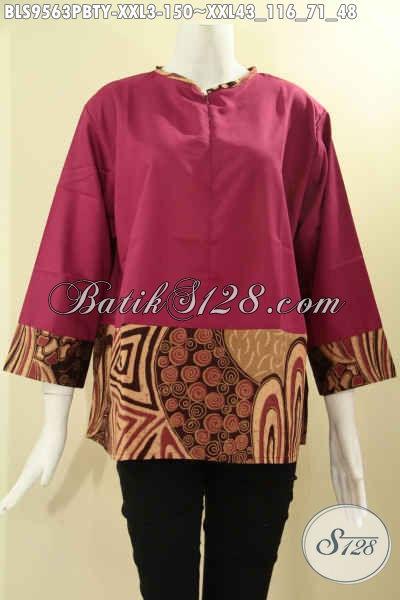 Blouse Batik Wanita Gemuk Lengan 7/8, Busana Batik Trendy Kombinasi Kain Katun Polos Toyobo Warna Merah Model Tanpa Krah Dan Di Lengkapi Resleting Depan Tampil Lebih Kekinian [BLS9563PBTY-XXL]