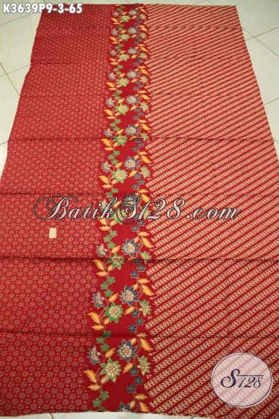 Kain Batik Solo Merah Motif Modern Bahan Baju Atasan Wanita Motif Bunga Proses Printing, Batik Halus Nan Istimewa Hanya 60 Ribuan Saja [K3639P-200x110cm]