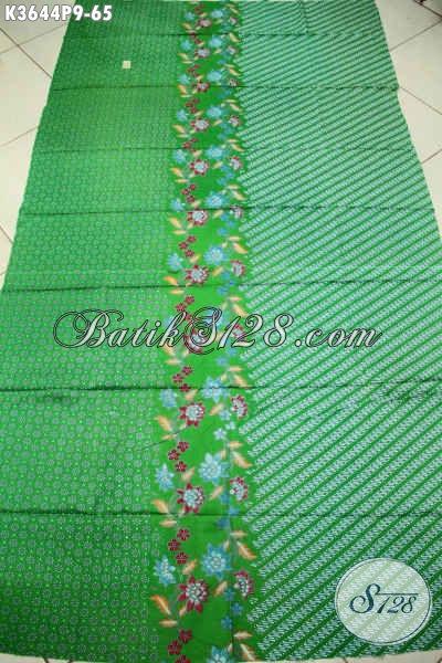 Kain Batik Hijau Motif Modern Dan Kekinian, Batik Bahan Busana Pria Wanita Nan Modis, Cocok Untuk Baju Kerja Dan Acara Resmi [K3644P-200x110cm]