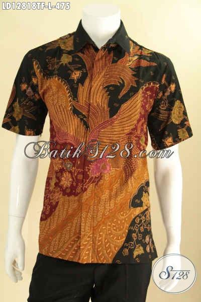Kemeja Batik Tulis Pria Lengan Pendek Halus Motif Bagus Proses Tulis, Busana Batik Kerja Nan Berkelas Asli Buatan Solo [LD12818TF-L]