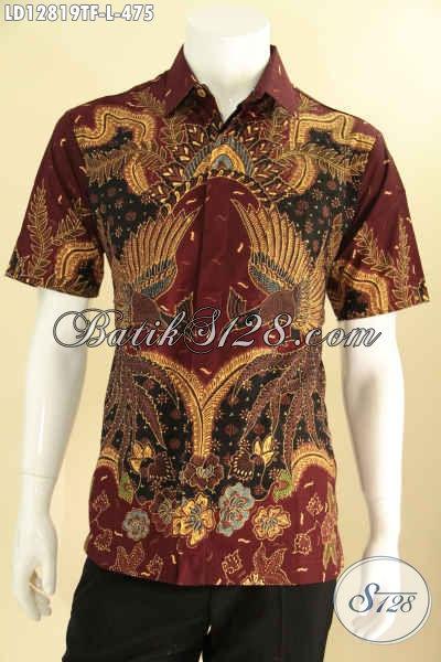 Baju Batik Pria Desain Terbaru Bahan Halus Motif Keren Proses Tulis, Kemeja Batik Lengan Pendek Kwalitas Premium, Bikin Penampilan Lebih Percaya Diri [LD12819TF-L]