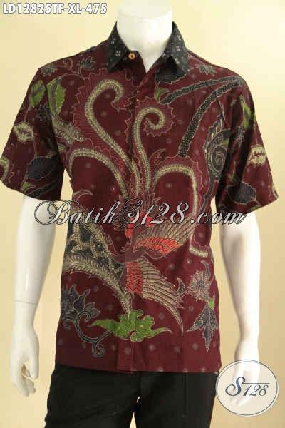 Kemeja Batik Trendy Lengan Pendek Motif Tren Masa Kini Proses Tulis, Tampil Gagah Dan Mewah Daleman Full Furing [LD12825TF-XL]
