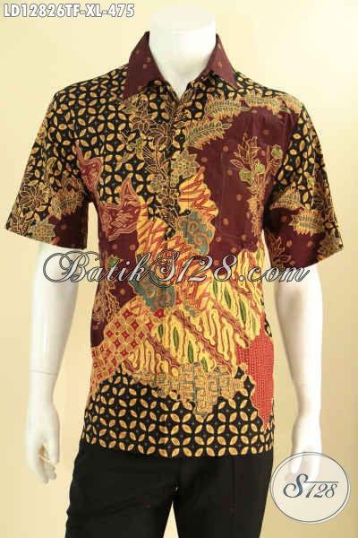 Busana Batik Solo Masa Kini Lengan Pendek Nan Istimewa Kwalitas Premium Daleman Full Furing, Kemeja Batik Tulis Solo Untuk Pria Tampil Lebih Percaya Diri [LD12826TF-XL]