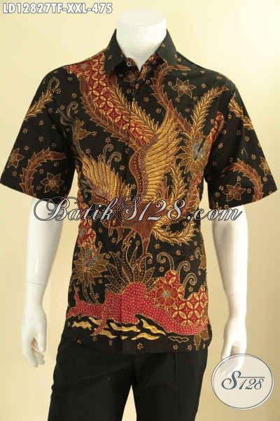 Koleksi Terbaru Baju Batik Lengan Pendek Tulis Khas Solo, Busana Batik Istimewa Dengan Lapisan Full Furing, Menunjang Penampilan Pria Gemuk Lebih Berkelas [LD12827TF-XXL]