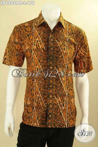Jual Online Baju Batik Pria Lengan Pendek Motif Kekinian, Pakaian Batik Istimewa Khas Jawa Tengah Yang Modis Untuk Acara Santai Maupun Resmi [LD12831CT-L]