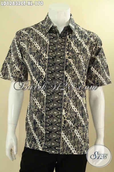 Produk Baju Batik Pria Desain Modern Berpadu Dengan Motif Klasik Tren Masa Kini, Kemeja Lengan Pendek Cowok Yang Menunjang Penampilan Saat Kerja Dan Acara Resmi Lebih Tampan [LD12832CT-XL]