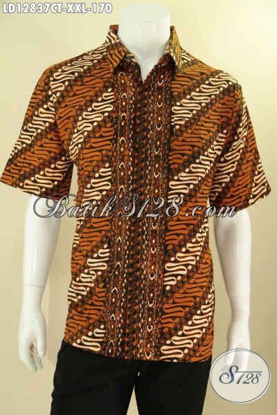 Busana Batik Pria Gemuk Motif Parang Nan Elegan, Kemeja Batik Lengan Pendek Halus Khas Jawa Tengah, Cocok Untuk Ke Pernikahan Maupun Untuk Seragam Kerja [LD12837CT-XXL]