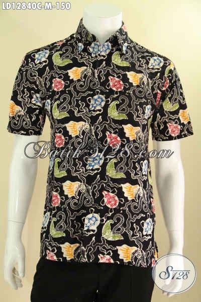 Baju Batik Trendy Motif Unik Untuk Pria Muda Tampil Beda, Kemeja Batik Solo Halus Kwalitas Bagus Model Lengan Pendek Tampil Lebih Gaya [LD12840C-M]