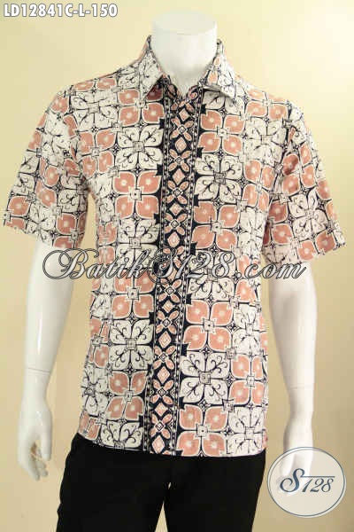 Kemeja Batik Solo Halus Model Lengan Pendek, Baju Batik Pria Kwalitas Istimewa Dengan Harga Terjangkau, Cocok Banget Untuk Seragam Kerja Kantoran [LD12841C-L]